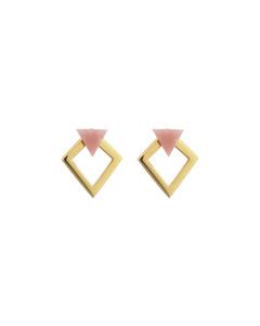 Angled Earrings  Gold Pink Opal