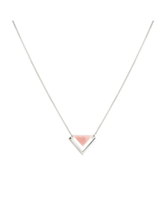 Angled Necklace  Silver Pink Opal