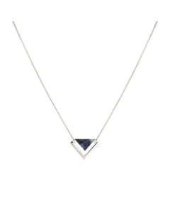 Angled Necklace  Silver Sodalite