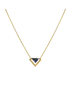 Angled Necklace  Gold Sodalite