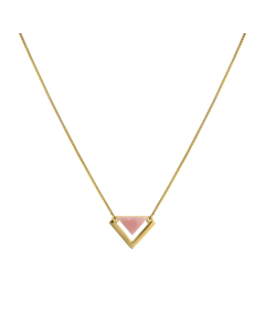 Angled Necklace  Gold Pink Opal