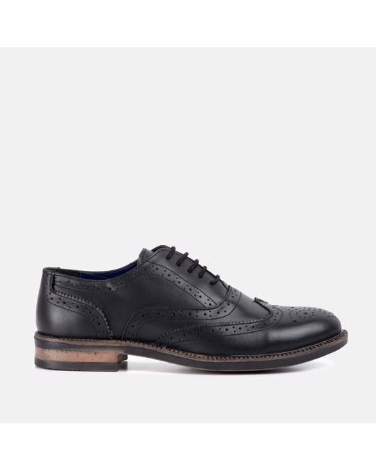 Redfoot Shoes Chunky Oxford Brogue Shoe Black