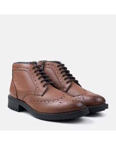 Zip & Lace Brogue Boot Tan