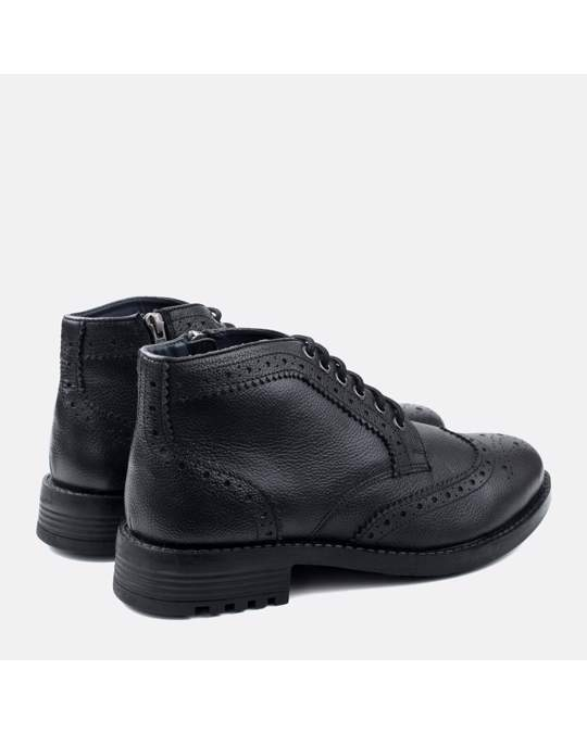 Redfoot Shoes Zip & Lace Brogue Boot Black