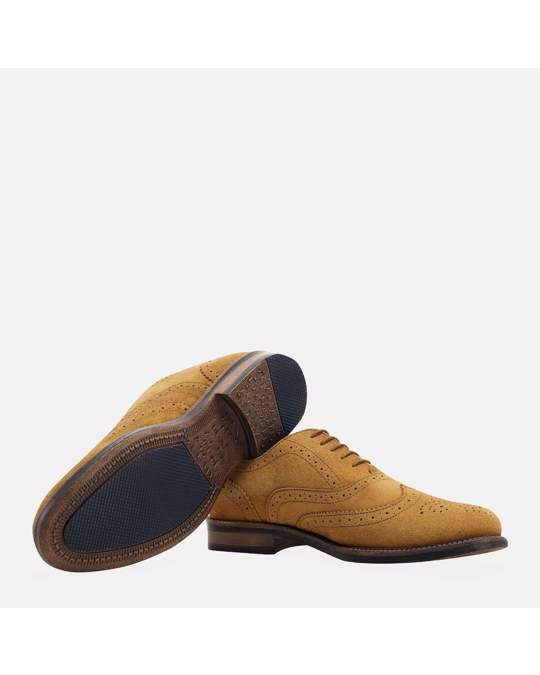 Redfoot Shoes Suede Water Resistant Brogue Tan