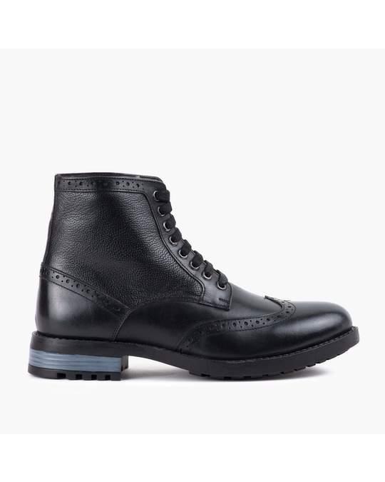Redfoot Shoes Mens Black Brogue Boot Black