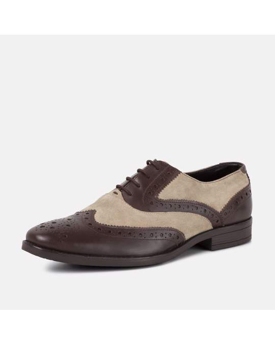 Redfoot Shoes Rf Thompson Brown & Stone  Leather Suede Brogue Brown