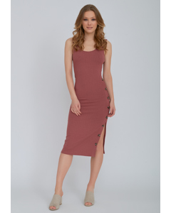 Ribbed Button Dress Old Rose