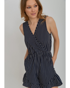 Fatima Stripe Playsuit Blue/white Stripe