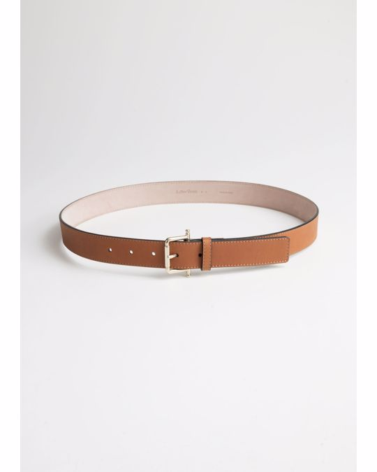 & Other Stories Leather Belt Beige