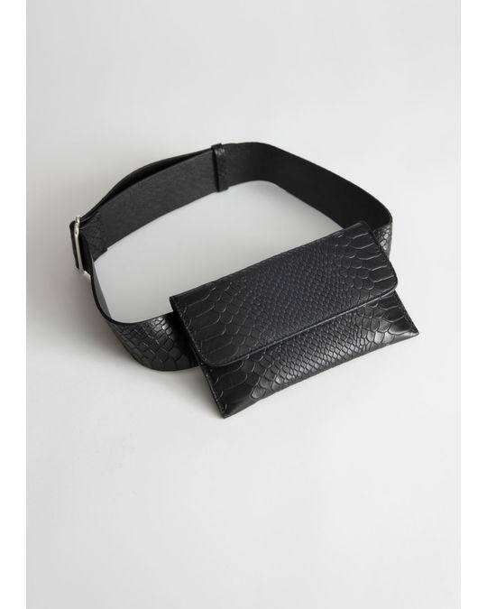 & Other Stories Snake Embossed Leather Beltbag Black Snake