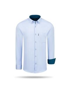 Cappuccino Italia Regular Fit Overhemd Baby Blue Blauw