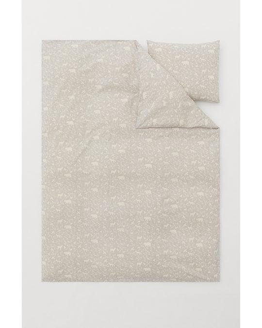 H&M HOME Patterned Duvet Cover Set Light Mole/patterned