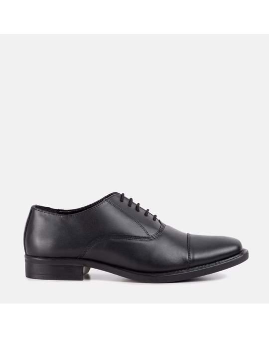 Redfoot Shoes Mens Black Plain Toe Cap Oxford Shoe