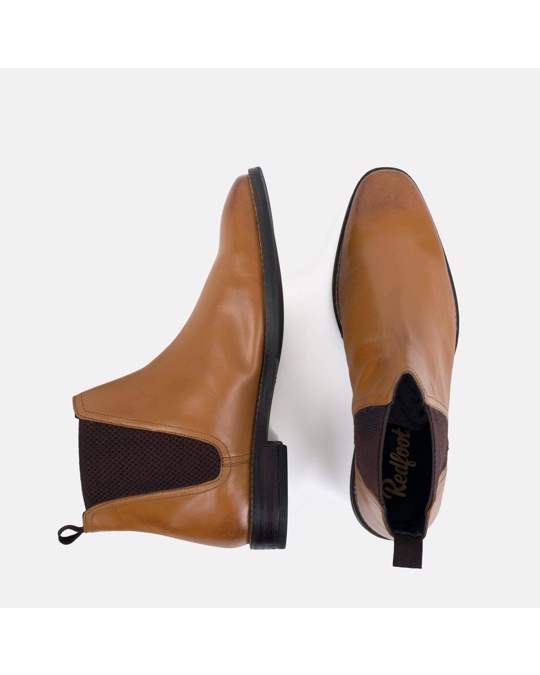 Redfoot Shoes Mens Tan Leather Square Toe Chelsea Boot
