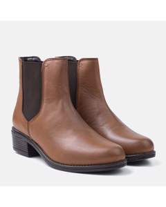 Ladies Tan Plain Chelsea Boot