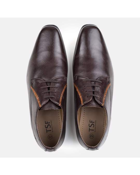 Redfoot Shoes Derby Shoe With Contrast Facing Detail, Brown