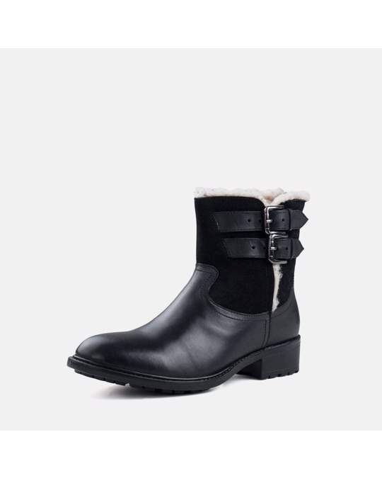 Redfoot Shoes Ladies Black Leather Suede Fur Lined Boot Boot