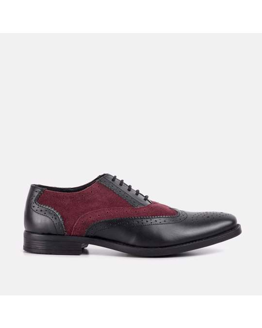 Redfoot Shoes Mens Burg & Black Gatsby Brogue Shoe