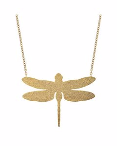 Dragonfly Halskette Groß Glitzer Gold