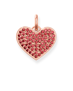 Pendant Heart Red Pavé 925 Sterling Silver; 18k Rose Gold Plating