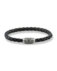 Leather Strap Love Knot 925 Sterling Silver, Blackened