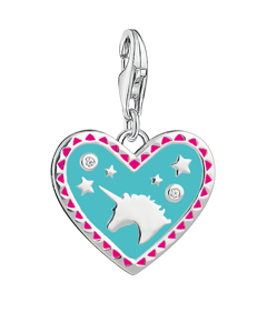 Charm Pendant Heart With Unicorn 925 Sterling Silver