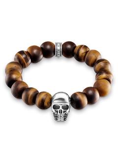 Bracelet Power Bracelet Brown Skull 925 Sterling Silver, Blackened