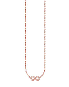 Necklace Infinity 925 Sterling Silver; 18k Rose Gold Plating, Diamond