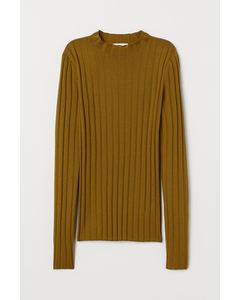 Prin Rib Knit Sweater Green