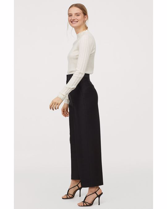H&M Prin Rib Knit Sweater White