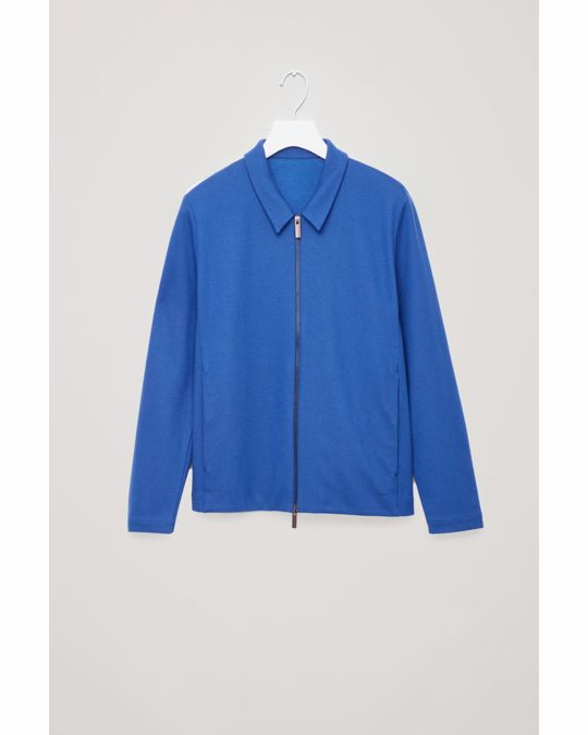 COS ZIP-UP WOOL JACKET Vibrant blue