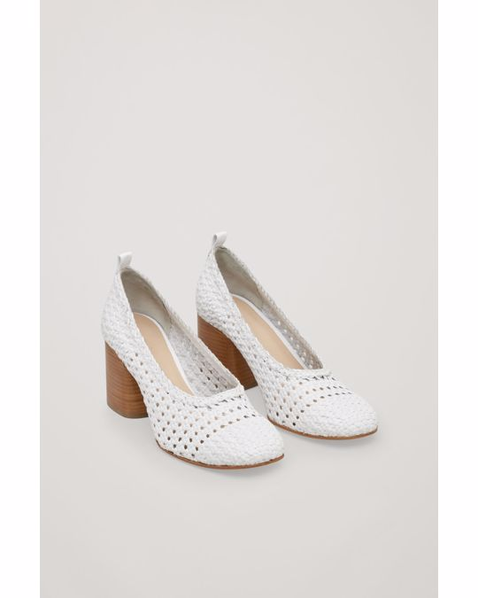 COS Braided Leather Heels White