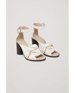 Knot-front Leather Sandals Ivory