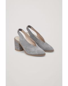 Suede Slingback Heels Light Grey