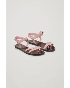 Strappy Suede Sandals  Pink