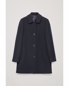 Straight Wool Coat Navy