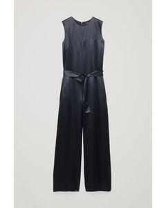 Belted Satin Jumpsuit