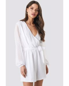 Dotted Chiffon Playsuit  White