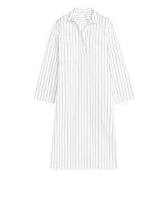Poplin Belted Dress White/Blue