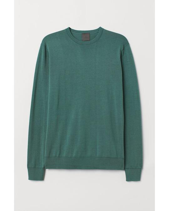 H&M Silk-blend jumper Dark turquoise