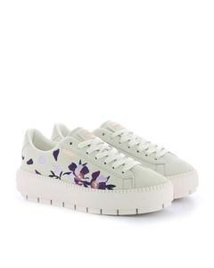 Suede Platform Trace Flowery Whisper White