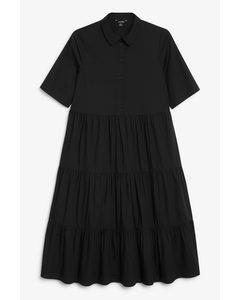Layered Flounce Dress Black