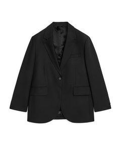Oversized Wool Blend Blazer Black