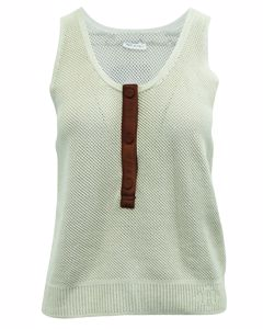 Meshed Leather Trim Top