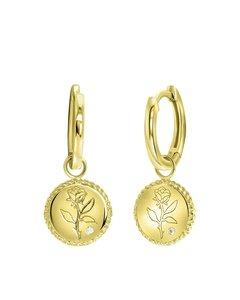 Zilveren Oorbellen Gold Roos Met Zirkonia