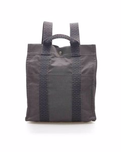 Hermes Herline Canvas Backpack Gray