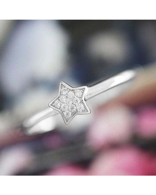 Lucardi Zilveren Ring Ster Met Zirkonia
