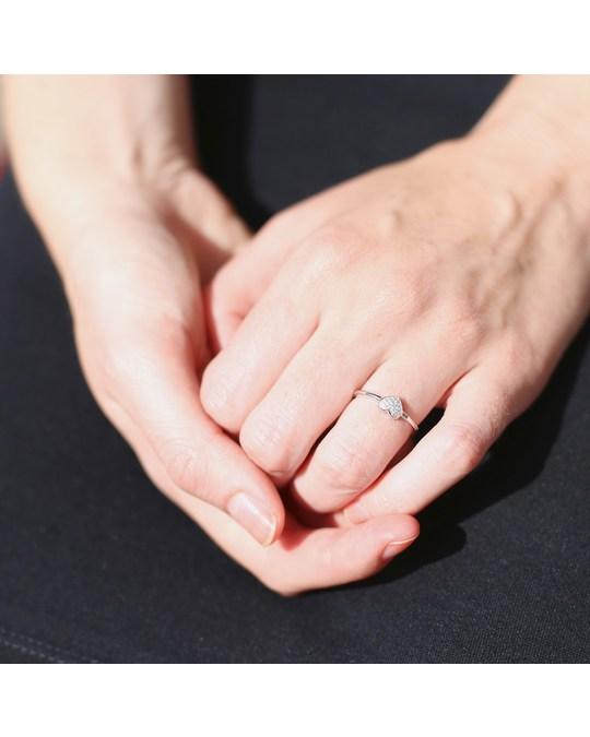 Lucardi Zilveren Ring Hart Met Zirkonia