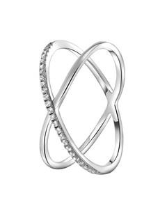 925 Silber-Ring, gekreuzt, mit Zirkonia